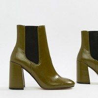 River Island square toe heeled boots in green at asos.com