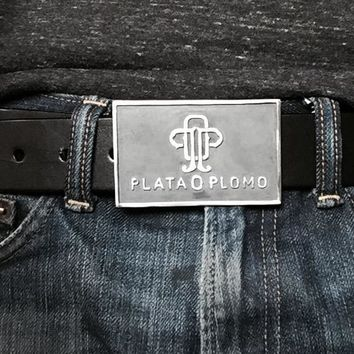 PLATA O PLOMO STERLING SILVER BELT BUCKLE