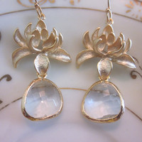 Clear Crystal Earrings Gold Blossoms  Bridesmaid by laalee on Etsy