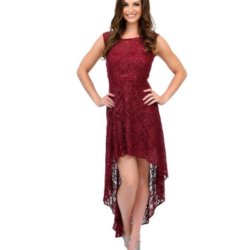 Maroon Floral Lace Strapless High-Low Dress Prom 2015