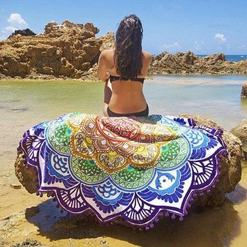 ESBU3C Indian Mandala Round Tapestry Wall Hanging Beach Throw Towel Boho Printed Yoga Mat Blanket Table Cloth Home Decoration 150cm