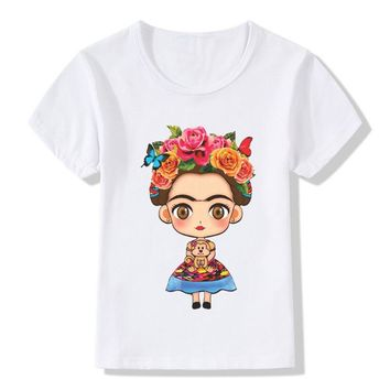 2017 Children Frida Kahlo Print Funny T-Shirts For Girls Boys Summer Tops Kids Short Sleeve Clothes Casual Baby T shirt,HKP2145