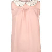 Light Pink Daisy Peter Pan Collar Sleeveless Top