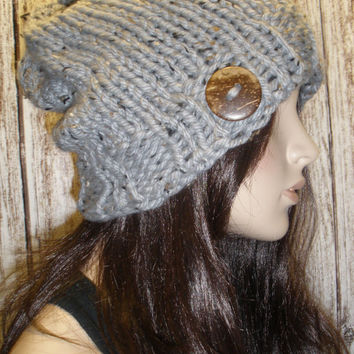 Slouchy Beanie Hat Winter Hand Knit Gray Tweed Woodsy With A Wood Button