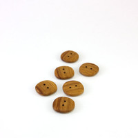 Wood buttons - Applewood - 0.8in (20mm) - Set of 6 natural wooden buttons - Handmade craft supplie (A2480)