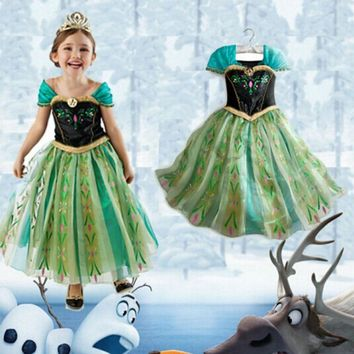 Disney Frozen dress Baby Children Princess Christmas Costume Kids Halloween Carnival Party  Role-play Perform Girls Clothes