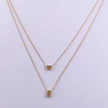 Double Stranded Necklace with Small Block Heart and Personalized Uppercase Initial in Gold