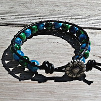 Beaded Leather Wrap Bracelet Sunflower Button Deep Blue Green 8mm Glass Beads Handmade