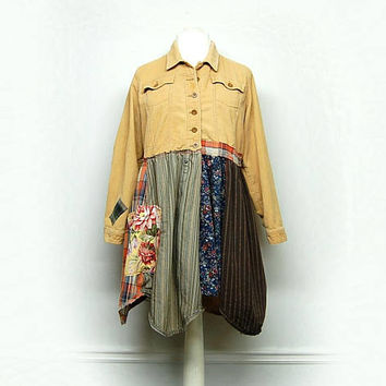 Upcycled Clothing, Long Boho Jacket, Long Corduroy Jacket, Patchwork Jacket, Free People Inspired, Anthropologie Inspired Jacket