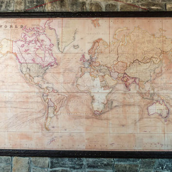 Very Rare World Map, 1800, Canvas Antique Woden Iron Pirate Frame Giant Wall Decor Huge Map Large Office Wall Magnificent Old World