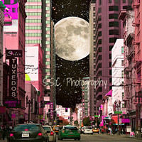 "San Francisco Photo. City Photo.""Girl's Night Out"" pink. purple. silver. black. night. moon. stars. buildings."