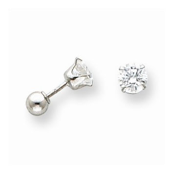 14k White Gold 5mm CZ and 4mm Ball Reversible Earrings