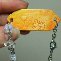 Mantra bracelet Shine bright Quote jewelry 8 inch cherry blossom branch Yellow and orange MB13