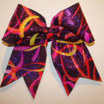 Psychedelic Sparkle Cheer Bow