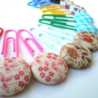 Decorative  jumbo paper Clips, book marks- Fabric Covered Button,12 PIECES