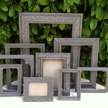 Gray Frames,  Set of 10, Ornate  Picture Frames, Baroque, Shabby Chic, Distressed, Wedding , Nursery, Wall Gallery, Frame set (Los Angeles)
