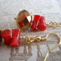 SALE - Bright Ruby Red Coral Earrings Deep Copper Bronze Czech Glass Faceted Gold Scarlet Cupolini Carved Beaded Jewelry