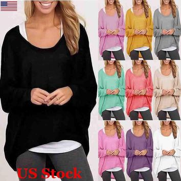 Womens Tops Loose Long Sleeve T-Shirt Casual Blouse Autumn Shirts
