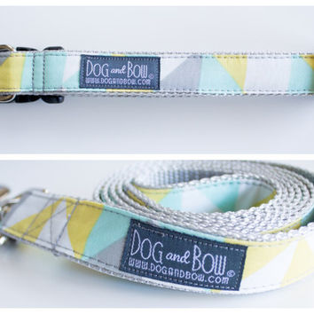 Geometric Mint Dog Collar with Optional Leash by Dog and Bow
