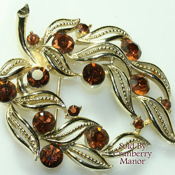 Lisner Brooch, Topaz Brown Rhinestone Pin, Autumn Fall Leaf Jewellery, Gold Figural, Vintage Fashion, Designer Signed, Costume Jewelry J2446