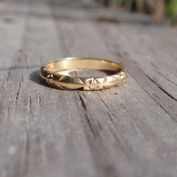 Art Deco Wedding Band Ring 14k Ladies orange blossom flowers eternity yellow gold forget me not