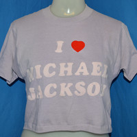 80s I love Michael Jackson Crop Top t-shirt Small