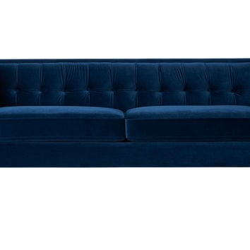 "Jodi 84"" Tufted Velvet Sofa, Navy, Sofas & Loveseats"