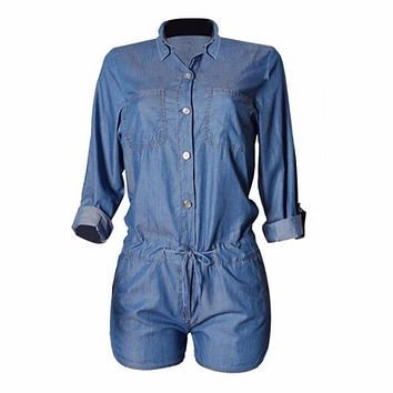 Short Denim Button Up Romper