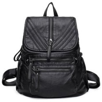 Lightweight Washable Leather Backpack