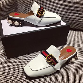 GUCCI Women Fashion Leather Slipper Mules Shoes