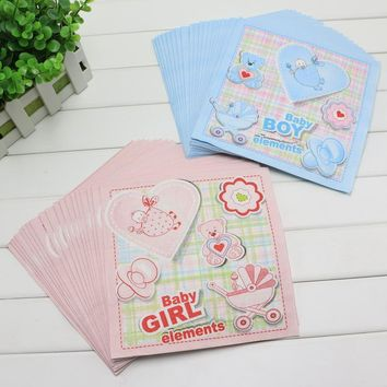 Baba Boy&Girl Elements Theme Food-grade design Paper Napkin For Baby Birthday party/Baby Shower decoration Supply Napkins