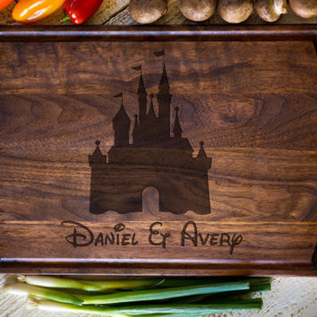 Custom Cutting Board, Disney Castle,  Personalized Cutting Board, Wedding Gift, Anniversary, Bridal Shower Gift Kitchen Decor #3131