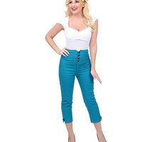 Teal High Waist Anchor Capris