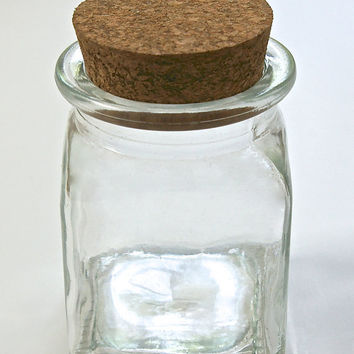 5 Glass Square Jars with Corks
