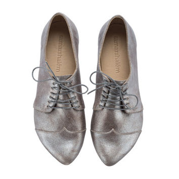 Silver oxford shoes, Polly Jean, made to order, handmade, flats, leather shoes, by Tamar Shalem on etsy