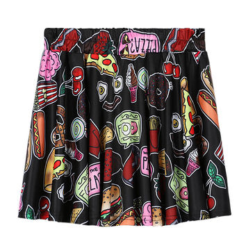 Black Food Print Elastic Waist Skater Skirt