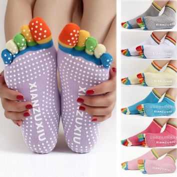 Colorful Non-slip Massage Fitness Dots Sock Women Pilates Yoga Gym Exercise 5 Toes Socks = 1932807620