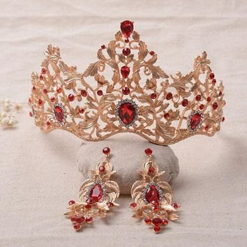 CREYET7 2016 New Fashion Magnificent Red Crystal Bridal Tiaras Green Crystal Wedding Crown for Bride Wedding Pageant hair Accessories