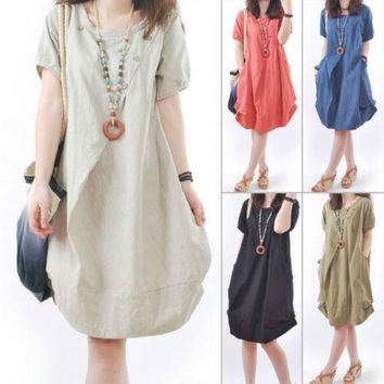 b449860ce6a 2019 New Sunmmer Plus Size Women Casual Loose Dress Cotton Linen
