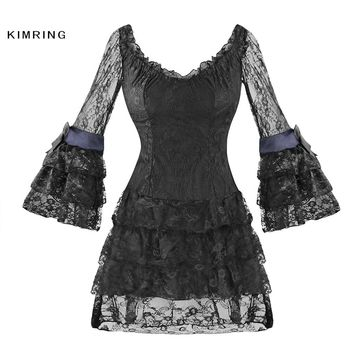 Kimring Sexy Women Lace Corsets Dress Gothic Black Bodycon Mini Dress Vintage Corset and Bustier Plus Size Sexy Corset Dress