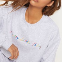 PRETTYLITTLETHING Grey Multi Cropped Sweater