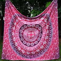 Apoorva's Pink Ombre Mandala Tapestry, Hippy Throw Mandala Tapestry Indian Wall Hanging, Tapestry, Bohemian, Tapestries, Queen Bedsheet Bedspread Hippie.