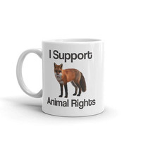 Animal Rights Support Mug with Fox Compassion is Strength