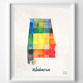 Alabama Map, Print, USA, Watercolor, Montgomery, Southeastern, Decor, Giclee, United States, Watercolour, Urban, Dorm, Home, Wall [NO 842]