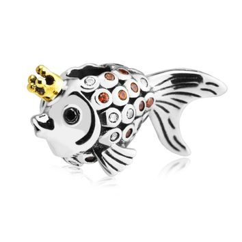 Fits for Pandora Bracelets Gold Fish Silver Beads 100% 925 Sterling Silver Charms DIY Jewelry Natural Stone Perlas BerloQue