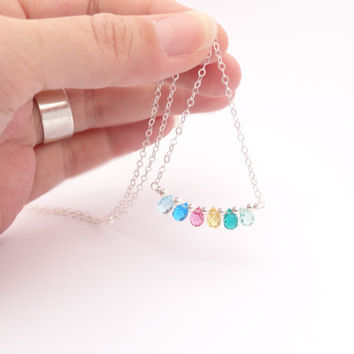 Rainbow Necklace tiny glass beaded jewelry sterling by bluebirdss