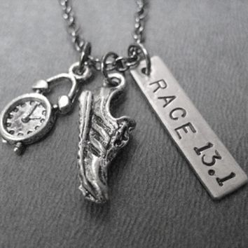 TIME TO RACE THE 5K, 10K, HALF MARATHON, MARATHON - Choose 3K, 5K, 10K, 13.1, 26.2 - Nickel pendants with 18 inch gunmetal chain