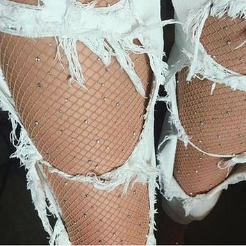 Women High Waist Diamond Tight Sparkle Rhinestone Fishnet Stockings Pantyhose