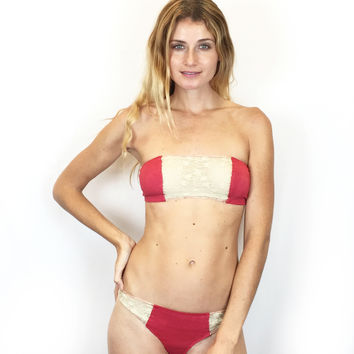 Larkspur - Zelda Organic Cotton Bandeau Bra and Thong Set - Scarlet/Ivory