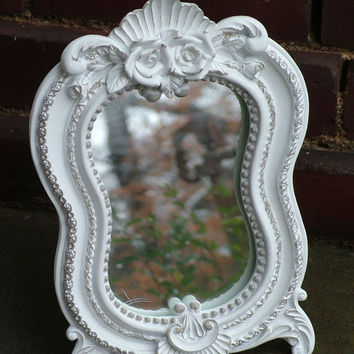 Ornate Mirror  Small Curvy Table Mirror, Shabby Chic Wall Mirror or Picture Frame,Use in Nursery,Hollywood Glam Room 11 x 7